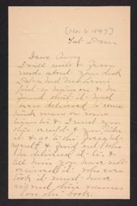 Letter from Mary A. Roberts to Amy Roberts Jones, 1897 November 6
