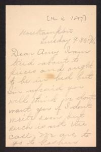 Letter from unidentified correspondent to Amy Roberts Jones, 1897 November 16
