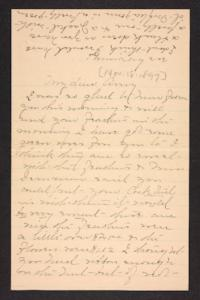 Letter from unidentified correspondent  to Amy Roberts Jones, 1897 November 18