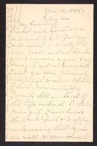 Letter from unidentified correspondent  to Amy Roberts Jones, 1897 November 28