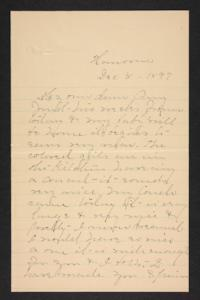 Letter from Mary A. Roberts to Amy Roberts Jones, 1897 December 8