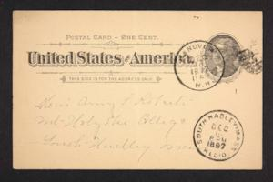 Postcard from Mary A. Roberts to Amy Roberts Jones, 1897 December 15