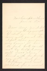 Letter from unidentified correspondent to Amy Roberts Jones, 1898 January 16