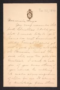 Letter from her cousin to Amy Roberts Jones, 1898 January 23