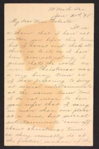 Letter from unidentified correspondent to Amy Roberts Jones, 1898 January 30