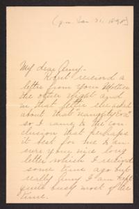 Letter from her cousin to Amy Roberts Jones, 1898 January 31
