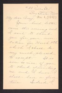 Letter from Esther L. Clapp to Amy Roberts Jones, 1898 March 1