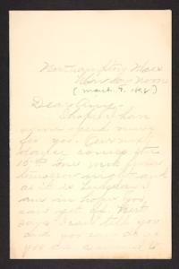 Letter from unidentified correspondent to Amy Roberts Jones, 1898 March 7