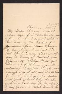 Letter from her aunt to Amy Roberts Jones, 1898 March 13