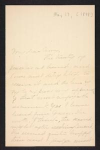 Letter from unidentified correspondent to Amy Roberts Jones, 1898 May 17