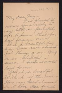 Letter from unidentified correspondent to Amy Roberts Jones, 1898 May 22
