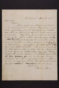 Letter from Newman Brown to Mary Lyon
