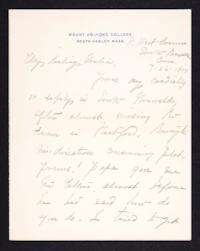 Letter from Mary Woolley to Jeannette Marks, 1905 July 26