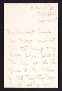 Letter from Mary Woolley to Jeannette Marks, 1905 September 12