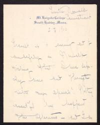 Letter from Mary Woolley to Jeannette Marks, 1906 February 2