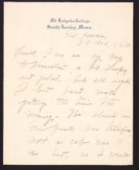 Letter from Mary Woolley to Jeannette Marks, 1906 February 9