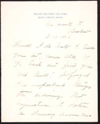 Letter from Mary Woolley to Jeannette Marks, 1906 February 16