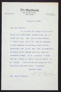 Letter from The Outlook to Mary Woolley, 1906 February 27