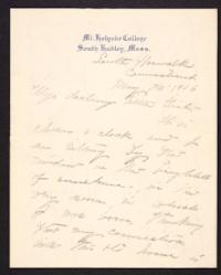 Letter from Mary Woolley to Jeannette Marks, 1906 May 20