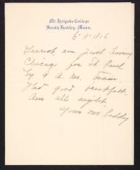 Letter from Mary Woolley to Jeannette Marks, 1906 June 5