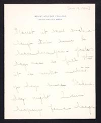 Letter from Mary Woolley to Jeannette Marks, 1906 November 9