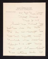Letter from Mary Woolley to Jeannette Marks, 1908 March 30