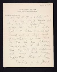 Letter from Mary Woolley to Jeannette Marks, 1908 October 14