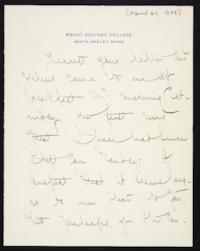 Letter from Mary Woolley to Jeannette Marks, 1909 April 24
