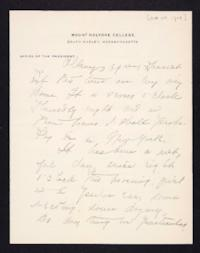 Letter from Mary Woolley to Jeannette Marks, 1909 October 8