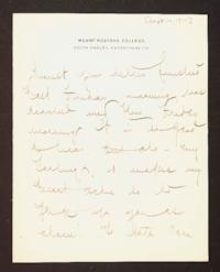 Letter from Mary Woolley to Jeannette Marks, 1910 September 16