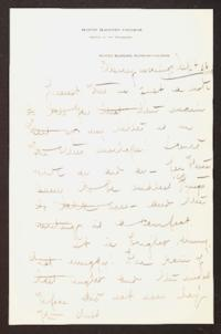 Letter from Mary Woolley to Jeannette Marks, 1910 September 26