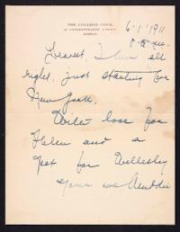 Letter from Mary Woolley to Jeannette Marks, 1911 June 1