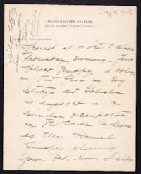 Letter from Mary Woolley to Jeannette Marks, 1912 May 15