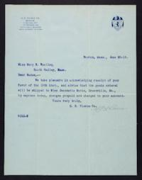 Letter from S.S. Pierce Co. to Mary Woolley, 1912 June 20
