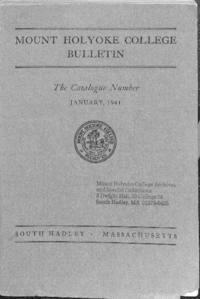 Mount Holyoke College Annual Catalog, 1940-1941