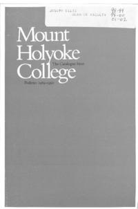 Mount Holyoke College Annual Catalog, 1989-1990