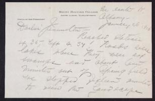 Letter from Mary Woolley to Jeannette Marks, 1916 January 26