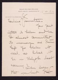 Letter from Mary Woolley to Jeannette Marks, 1917 October 4