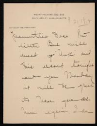 Letter from Mary Woolley to Jeannette Marks, 1918 September 21