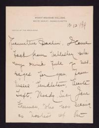 Letter from Mary Woolley to Jeannette Marks, 1919 October 12