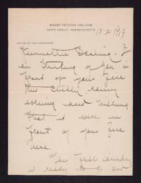 Letter from Mary Woolley to Jeannette Marks, 1919 October 2