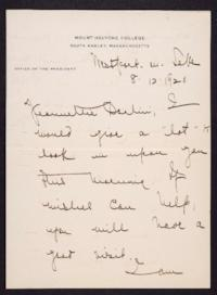 Letter from Mary Woolley to Jeannette Marks, 1920 August 12