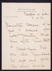 Letter from Mary Woolley to Jeannette Marks, 1920 August 13