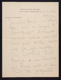 Letter from Mary Woolley to Jeannette Marks, 1920 June 11