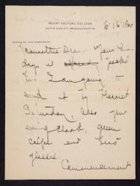 Letter from Mary Woolley to Jeannette Marks, 1920 June 16