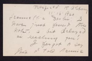 Letter from Mary Woolley to Jeannette Marks, 1920 November 16