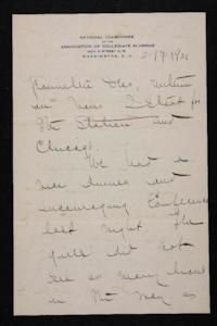 Letter from Mary Woolley to Jeannette Marks, 1921 February 17