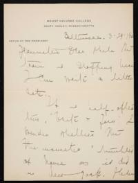 Letter from Mary Woolley to Jeannette Marks, 1921 March 29