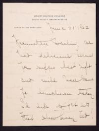 Letter from Mary Woolley to Jeannette Marks, 1922 June 20