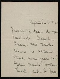Letter from Mary Woolley to Jeannette Marks, 1923 September 6
